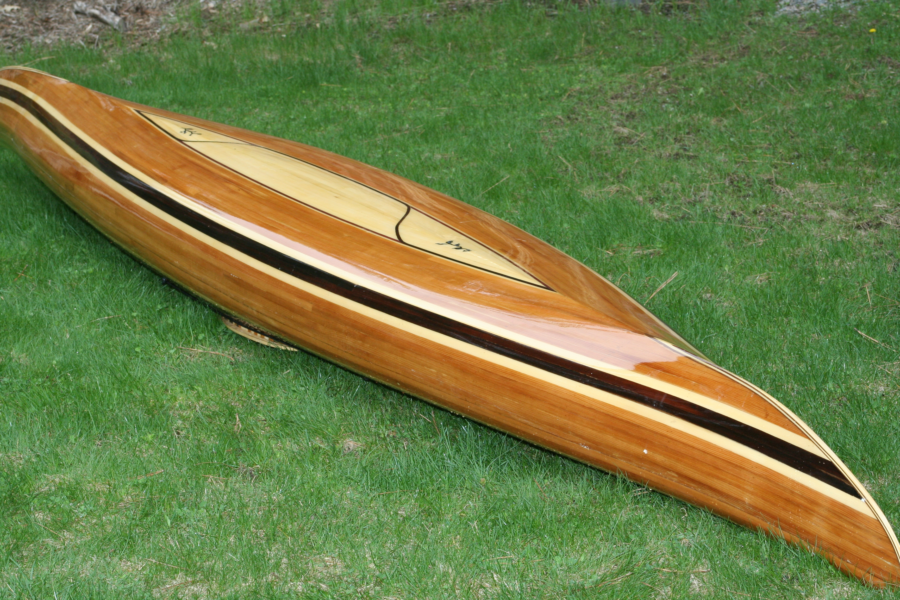 Wood strip fishing kayak